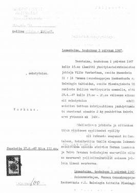 Yksityisetsivän tekemä tutkimus v 1947